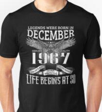 50th Birthday Gift Legends Were Born In December 1967 T-Shirt