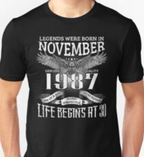 30th Birthday Gift Legends Were Born In November 1987 T-Shirt