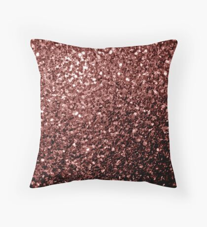 Beautiful Glam Marsala Brown-Red Glitter sparkles Throw Pillow