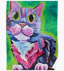 Holly - Neon Cat in Acrylic Poster