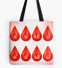 Set of Red Drops Isolated on Pink Background. Blood Drop Icons Tote Bag