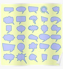 Set of Different Speech Bubbles Isolated on Yellow Background Poster