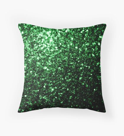 Beautiful Glamour Dark Green glitter sparkles Throw Pillow
