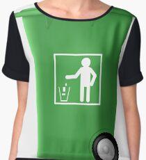 Green PlasticTrashcan Isolated on White Backgrouund. Green Trash Bin Women's Chiffon Top
