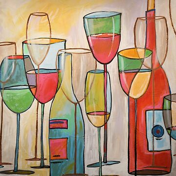 Modern Abstract Wine Art / Wine Tasting by AmyGiacomelli