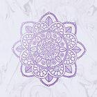 Lavender Mandala on White Marble by julieerindesign