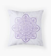 Lavender Mandala on White Marble Throw Pillow