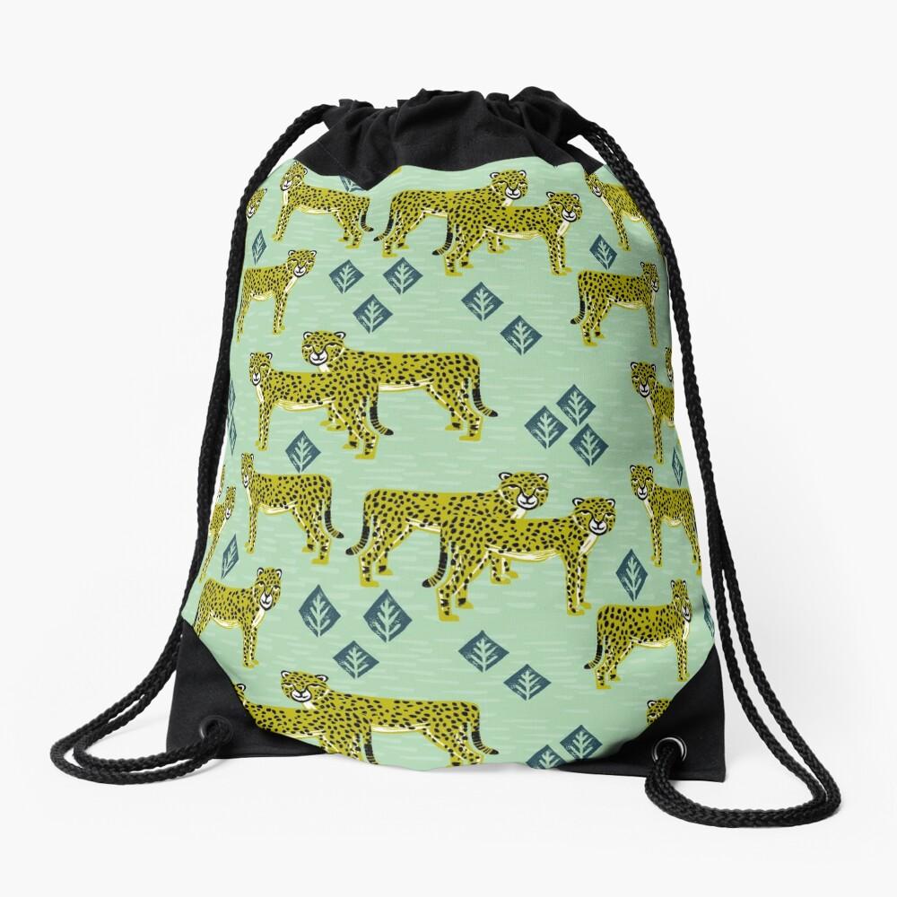 Cheetah safari nursery kids animal nature pattern print gifts  Drawstring Bag