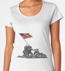 Soldiers Raising US Flag at Iwo Jima Women's Premium T-Shirt
