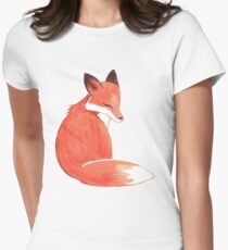 Watercolor Fox Women's Fitted T-Shirt