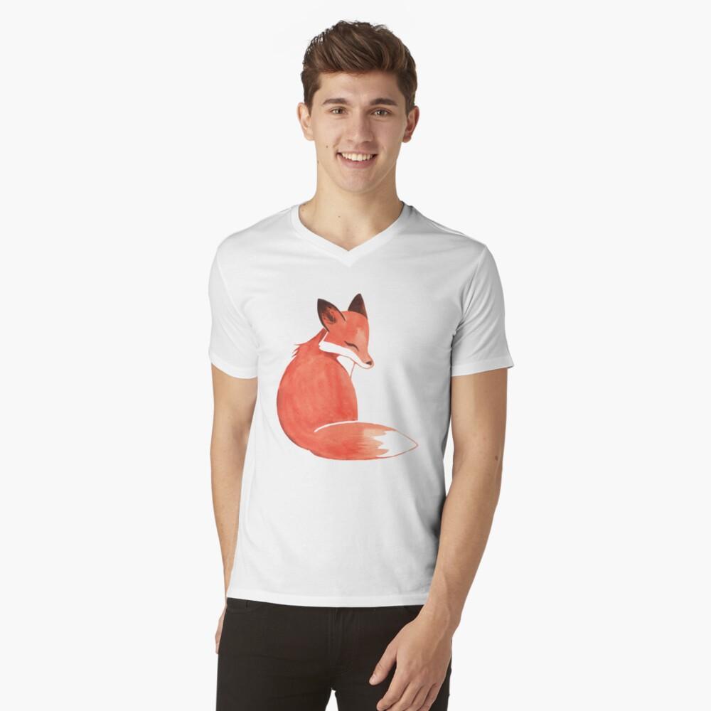 Watercolor Fox V-Neck T-Shirt