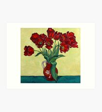 Red tulips in a red jug Art Print