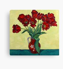 Red tulips in a red jug Canvas Print