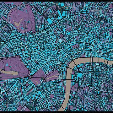 London city map twilight by PlanosUrbanos