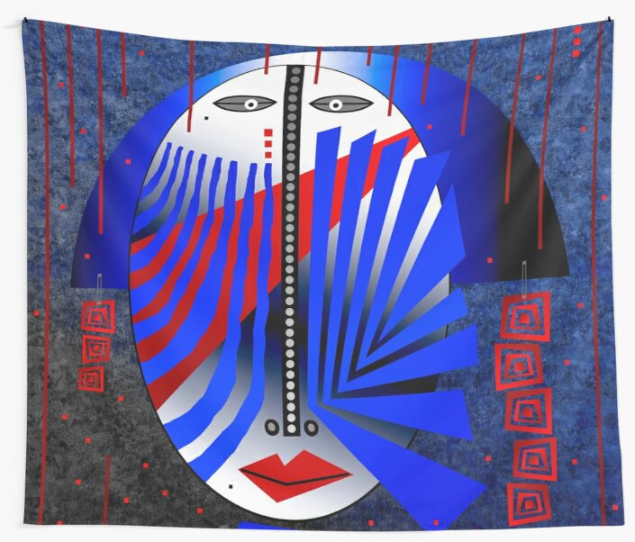 Tribal Whimsy 15 - Wall Tapestry by Glen Allison