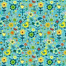 Ducks and Frogs in the Garden - Aqua and Lemon - floral pattern by Cecca Designs by Cecca-Designs