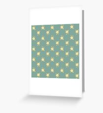 Blue yellow flower pattern Greeting Card