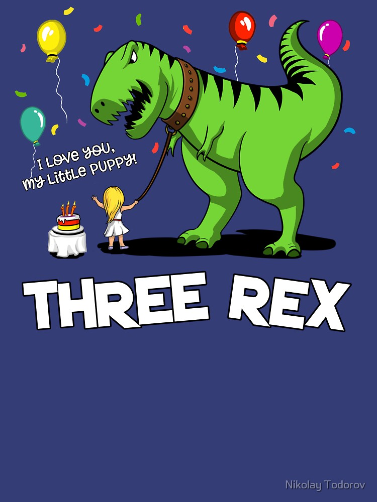 Three Rex Dinosaur 3rd Kid's Birthday Girl Party by underheaven