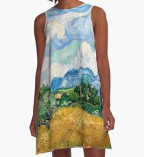Wheat Field with Cypresses by Vincent van Gogh A-Line Dress