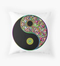 Yin Yang Symbol Psychedelic Art Design Throw Pillow