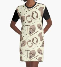 Zombies In Sepia Funny Horror Pattern Graphic T-Shirt Dress