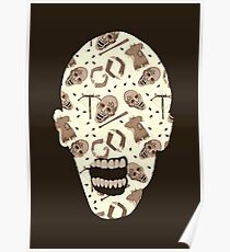 Zombies In Sepia Funny Horror Pattern Poster