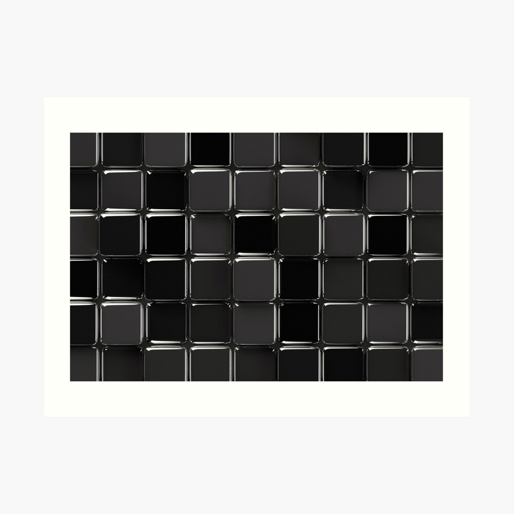 Mosaico negro brillante Lámina artística