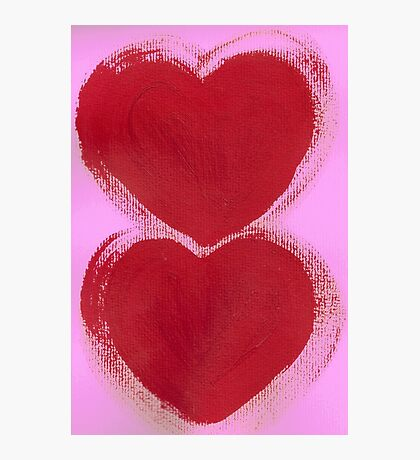 Double Hearts in Rouge Red on Pretty Pink Photographic Print