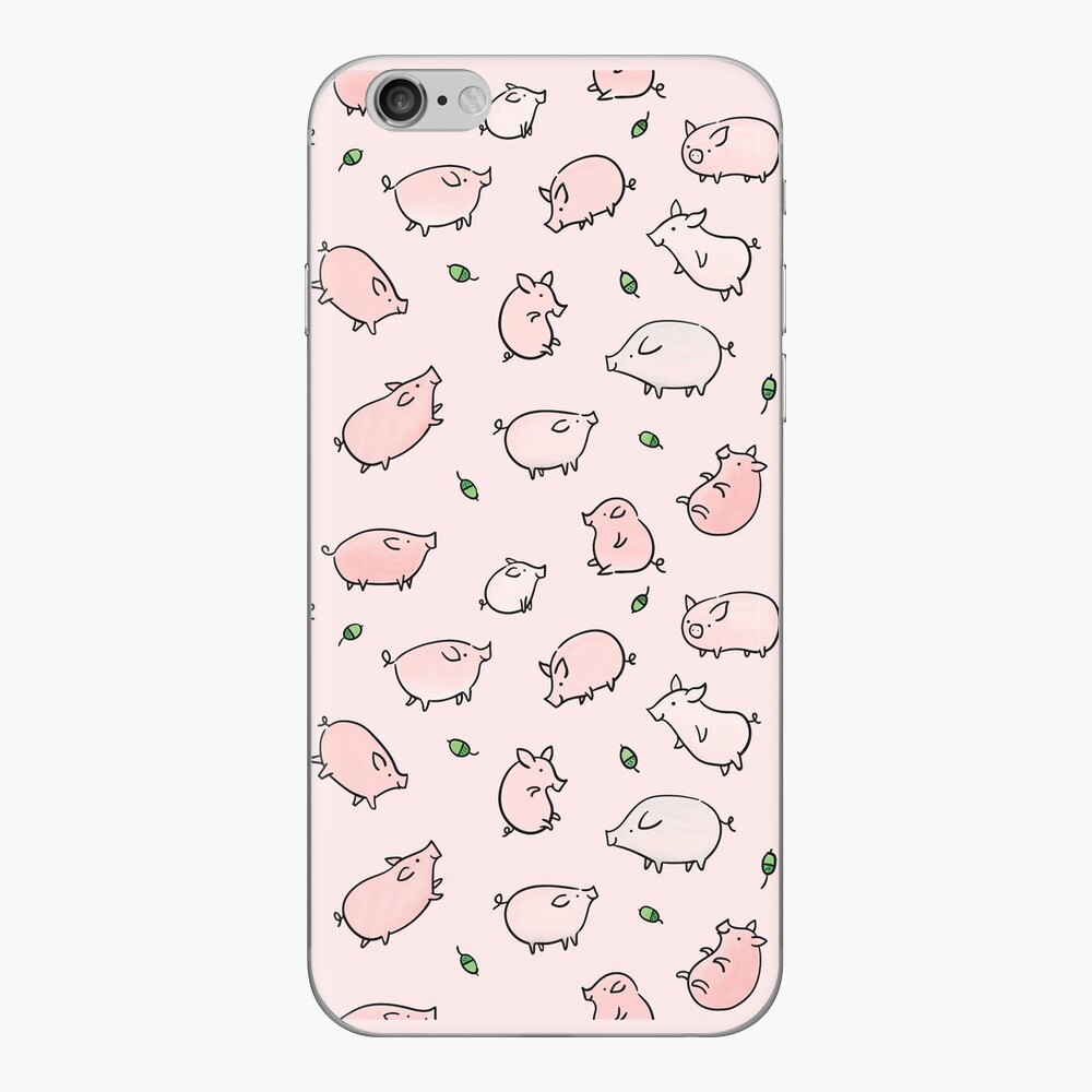 Pink Pigs with Green Acorns  iPhone Skin
