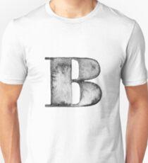 B Letter Monogram Monochrome Alphabet  Word Watercolor Black And White Grey Unisex T-Shirt
