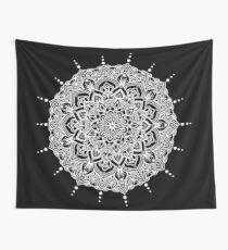 White Mandala With Droplets On Black Wall Tapestry