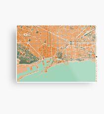 Barcelona city map mediterránea Metal Print