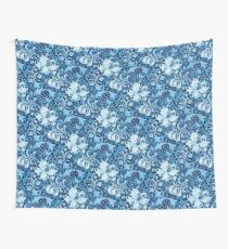William Morris Iris and Lily, Indigo Blue Wall Tapestry