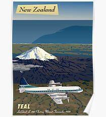 Mount Taranaki and Lockheed L-188 Electra, New Zealand, 1959 Poster