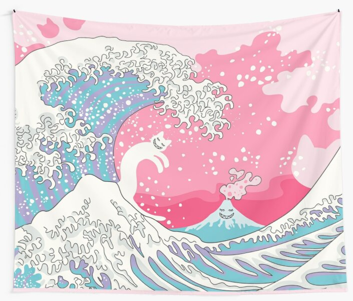 Psychodelic Bubblegum Kunagawa Surfer Cat by XOOXOO