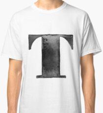 T Letter Monogram Monochrome Alphabet  Word Watercolor Black And White Grey Classic T-Shirt