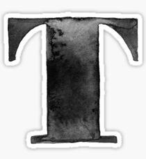 T Letter Monogram Monochrome Alphabet  Word Watercolor Black And White Grey Sticker