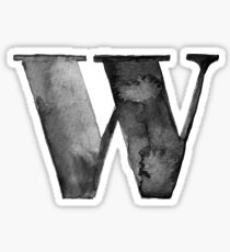W Letter Monogram Monochrome Alphabet  Word Watercolor Black And White Grey Sticker