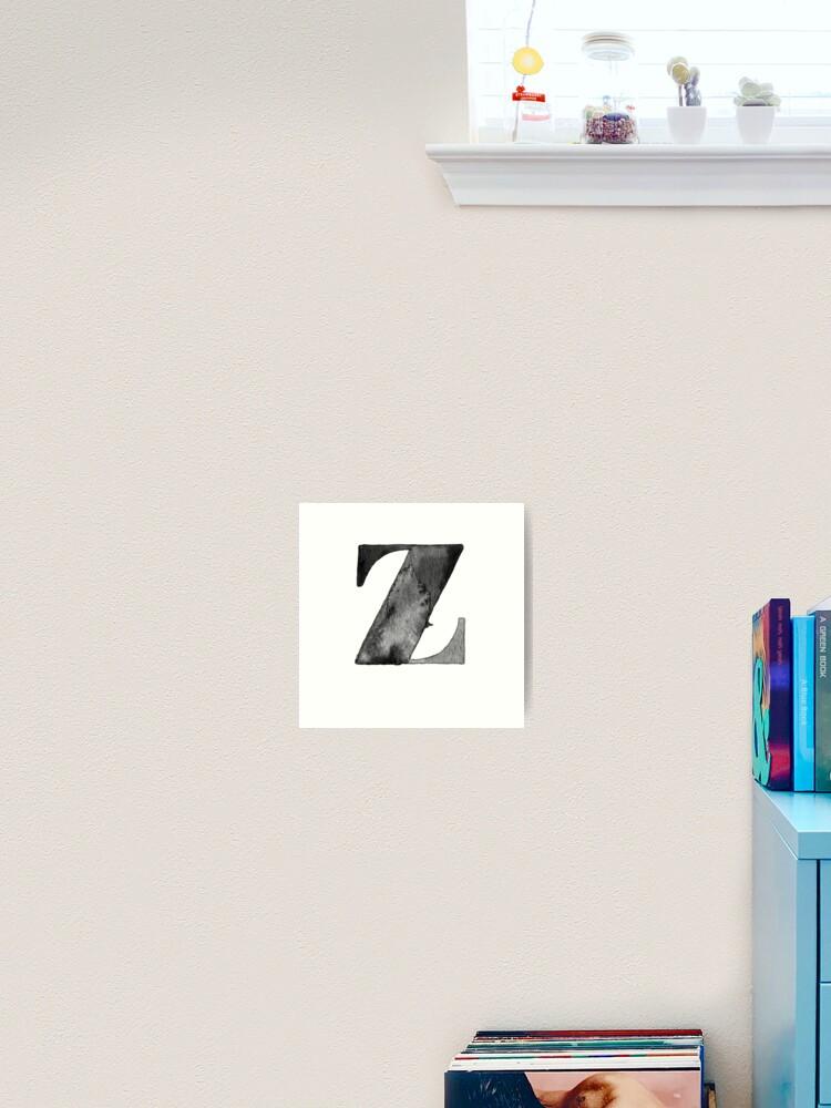 Z Letter Monogram Monochrome Alphabet Word Watercolor Black And White Grey Art Print