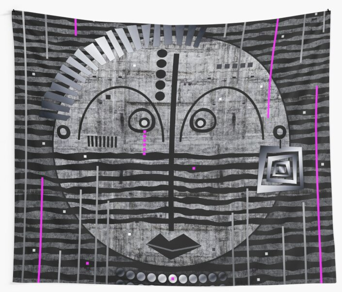 Tribal Whimsy 17 - Wall Tapestry by Glen Allison