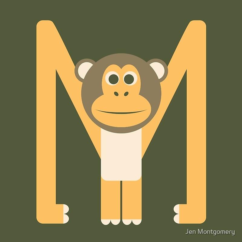 Letter M // Animal Alphabet // Monkey Monogram\