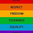 Pride Flag - Love Respect Freedom Tolerance Equality Pride by IdeasForArtists
