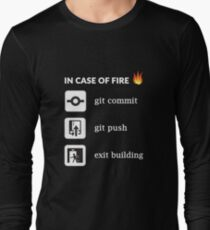 In case of fire git commit git push - Funny Programming T-Shirt
