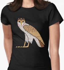 Ancient Egyptian Owl M Hieroglyph on Black Women's Fitted T-Shirt