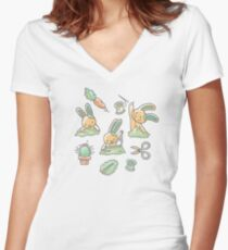 Sewing Bunnies - Yellow Women's Fitted V-Neck T-Shirt