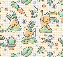 Sewing Bunnies - Yellow by Holly Bender