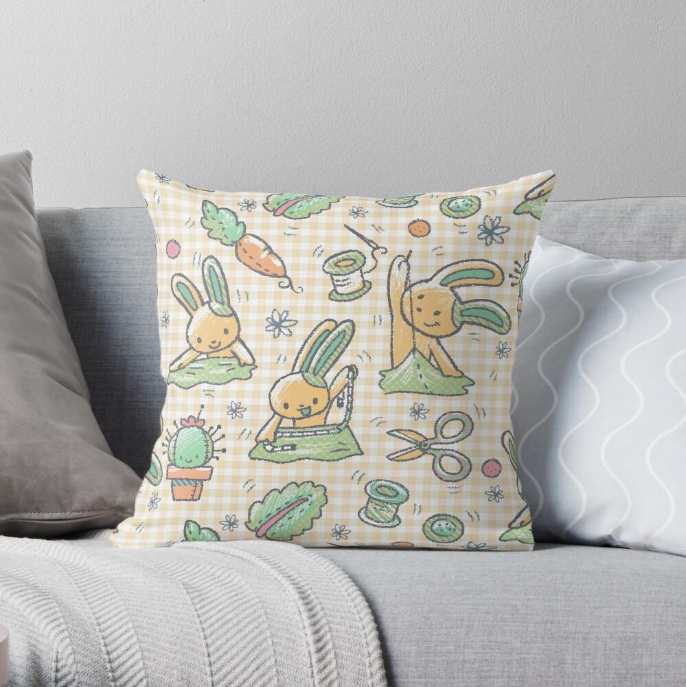 Sewing Bunnies - Yellow Throw Pillow