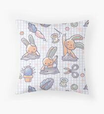 Sewing Bunnies - Blue and Orange Throw Pillow