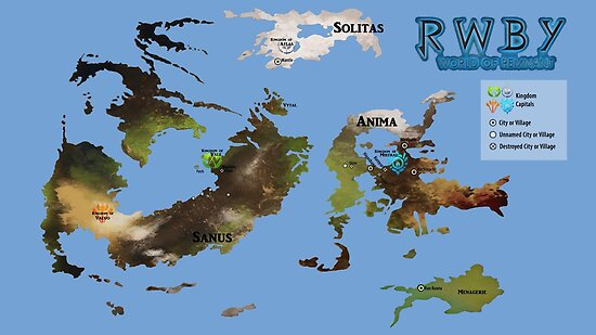 Remnant Map as of Vol.4 (RWBY)