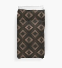 Chocolate Brown Abstract 70s Retro Diamond Pattern Duvet Cover